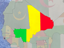Mali with flag on globe Royalty Free Stock Image