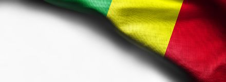 Mali flag on smooth exture on white background. Right top corner flag Stock Photography