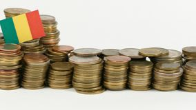 Mali flag with stack of money coins. Mali flag waving with stack of money coins stock video