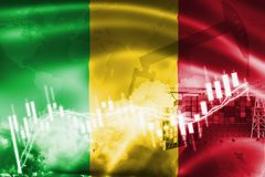 Mali flag, stock market, exchange economy and Trade, oil production, container ship in export and import business and logistics. Africa, african, background stock illustration