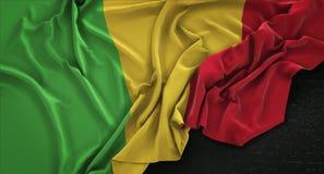 Mali Flag Wrinkled On Dark bakgrund 3D framför Fotografering för Bildbyråer
