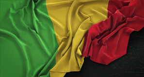 Mali Flag Wrinkled On Dark-3D de Achtergrond geeft terug Stock Afbeelding