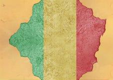 Mali flaggaabstrakt begrepp i betong för agg för fasadstruktur stor skadad royaltyfri bild