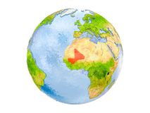 Mali on globe isolated. Mali highlighted in red on model of Earth. 3D illustration isolated on white background. Elements of this image furnished by NASA Royalty Free Stock Photos