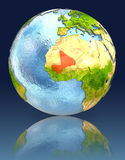 Mali on globe with reflection. Illustration with detailed planet surface. Elements of this image furnished by NASA Royalty Free Stock Images