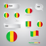 Mali icon set of flags Royalty Free Stock Photography