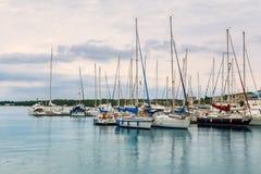 Mali jachty w schronieniu blisko Rovinj Obraz Royalty Free