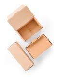 Mali kartony ustawiają odosobnionego na bielu z ścinek ścieżką Obrazy Royalty Free