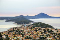 Mali Lošinj. Panoramic view of the largest island town on the Adriatic sea, Mali Losinj, Croatia Royalty Free Stock Photography