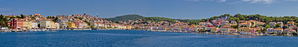 Mali Losin bay - wide megapanoramic town view. Megapanoramic view - Mali Losinj, Island of Losinj, Croatia Royalty Free Stock Photos