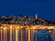 Mali Losinj. Evening View of the largest city on the island Losinj,Croatia. Long blend exposure Stock Photo
