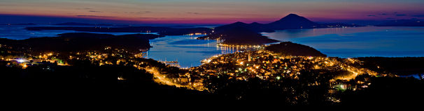 Mali Losinj bay panoramic view at dusk Stock Photo