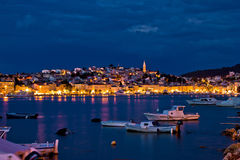 Mali Losinj, Croatia. Blue hour sunset panorama Royalty Free Stock Photography