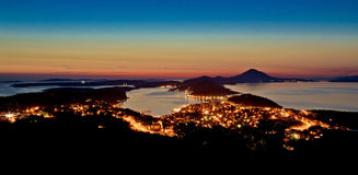 Mali Losinj, Croatia panoramic view. From hill in blue hour Stock Image