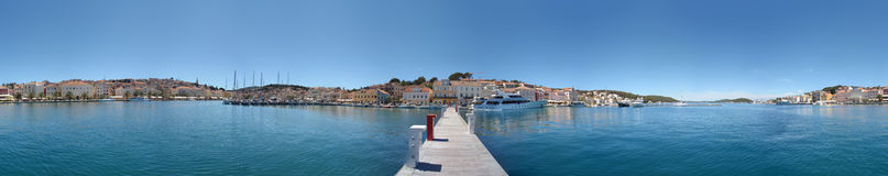Mali Losinj Panorama. Circular panoramic image of Mali Losinj on the island of Losinj, Croatia Royalty Free Stock Photos
