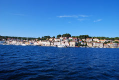 Mali Losinj waterfront,Croatia. Panoramic waterfront view at Mali Losinj in a sunny summer day with blue sky Stock Photo
