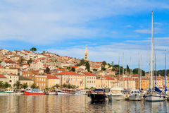 Mali Losinj waterfront and harbor, Island of Losinj, Dalmatia, C. Roatia Stock Photo