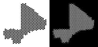 Mali Map Hex-Tile Abstraction ilustração stock