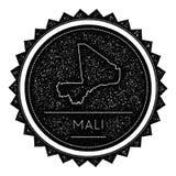 Mali Map Label met Retro Wijnoogst Gestileerd Ontwerp stock illustratie