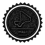 Mali Map Label with Retro Vintage Styled Design. Hipster Grungy Mali Map Insignia Vector Illustration. Country round sticker Royalty Free Stock Images