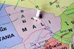 Mali map. Macro shot of mali map with push pin Royalty Free Stock Photo