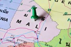 Mali map. Macro shot of mali map with push pin Royalty Free Stock Photos