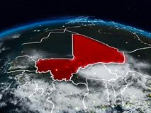 Mali at night. Mali from space at night on Earth with visible country borders. 3D illustration. Elements of this image furnished by NASA Stock Photos