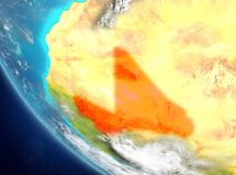 Satellite view of Mali in red. Mali from orbit of planet Earth with highly detailed surface textures. 3D illustration. Elements of this image furnished by NASA Royalty Free Stock Images