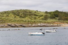 Mali outboard motorboats Obraz Royalty Free