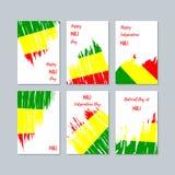 Mali Patriotic Cards para el día nacional stock de ilustración