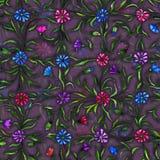 Mali piękni kwiaty z liśćmi na ciemnym purpurowym tle Jaskrawi cornflowers w czeka wzorze bezszwowy wzoru Zdjęcie Stock