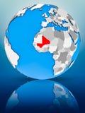 Mali on political globe. Mali on globe reflecting on surface. 3D illustration Stock Photos