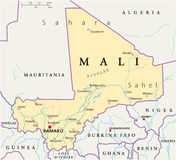 Mali Political Map Royaltyfri Foto
