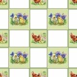 Mali puszyści śliczni akwareli kaczątka, kurczaki i zając z jajko bezszwowym wzorem na białej tło wektoru ilustraci, Obrazy Stock