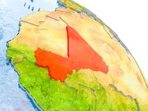 Mali in red model of Earth. Illustration of Mali highlighted in red on glob with realistic surface with visible country borders, and water in the oceans. 3D Stock Images