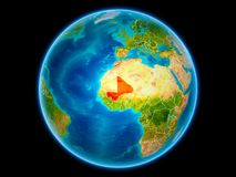 Mali on Earth from space. Mali in red with visible country borders from space. 3D illustration. Elements of this image furnished by NASA Stock Illustration