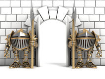 Mali rycerze chroni bramy Obraz Stock