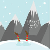 Mali Santa pomagiery życzą wam Wesoło boże narodzenia Wektoru obrazkowy kartka z pozdrowieniami Zdjęcia Stock
