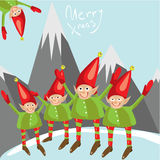 Mali Santa pomagiery życzą wam Wesoło boże narodzenia Wektoru obrazkowy kartka z pozdrowieniami Obraz Royalty Free