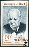 MALI - 1965: shows Sir Winston Leonard Spencer Churchill 1874-1965, politician. MALI - CIRCA 1965: A stamp printed in Republic of Mali shows Sir Winston Leonard Stock Photography