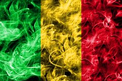 Mali smoke flag isolated on a black background.  Stock Image