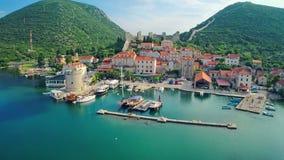 Mali Ston na península de Peljesac, aérea Imagens de Stock Royalty Free