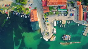 Mali Ston on Peljesac peninsula, aerial stock video