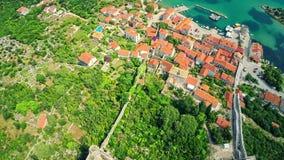 Mali Ston on Peljesac peninsula, aerial stock video footage