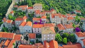 Mali Ston sur la péninsule de Peljesac, aérienne Images libres de droits