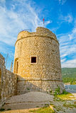 Mali Ston tower. Old tower Toljevac part of the remains of the ancient walls and fortress in Mali Ston on Peljesac peninsula Royalty Free Stock Images