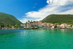 Mali Ston Town seen from the ship, Adriatic Sea, Croatia Stock Image