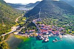 Mali Ston waterfront aerial view. Ston walls in Dalmatia region of Croatia Royalty Free Stock Images