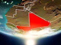 Mali with sun on planet Earth Stock Photo