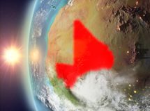 Mali during sunset from space. Mali as seen from space on planet Earth during sunset. 3D illustration. Elements of this image furnished by NASA Stock Images